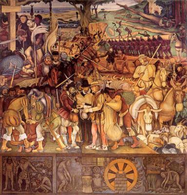 El desembarco de los españoles en Veracruz (1951), de Diego de Rivera