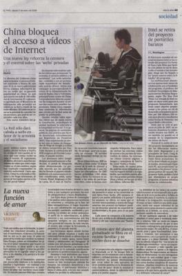 China bloquea el acceso a vídeos de Internet. Noticia de El País, 5 de enero de 2008