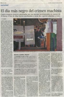 El día más negro del crimen machista. Noticia en El País, 27 de febrero de 2008