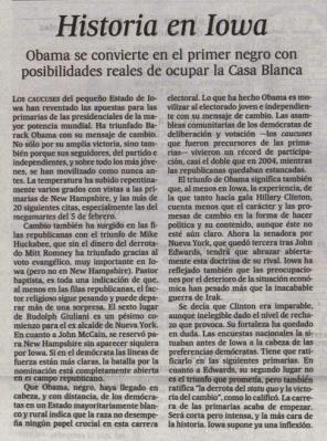 Historia en Iowa. Editorial de El País, 5 de enero de 2008