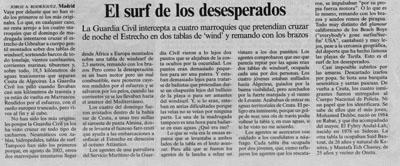 El surf de los desesperados. Reportaje en El País, 2 de Agosto de 2008