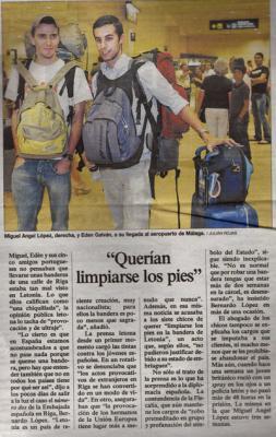 Querían limpiarse los pies. Noticia de El país, 16 de junio de 2007