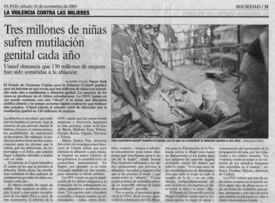 Tres millones de niñas sufren mutilación genital cada año.  Noticia, 26 de Noviembre de 2005