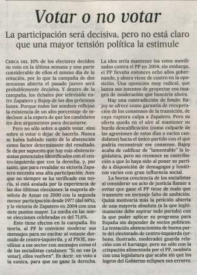 Votar o no votar. Editorial de El País, 24 de febrero de 2008