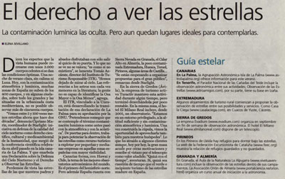 El derecho a ver las estrellas. Reportaje de El País