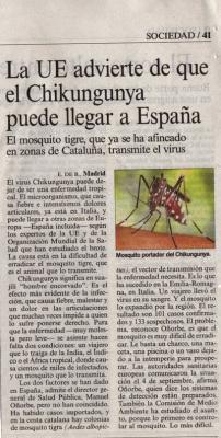 La UE advierte de que el Chikungunya puede llegar a España. Noticia en El País.