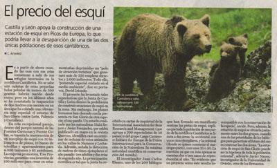 El precio del esquí. Noticia en El País.