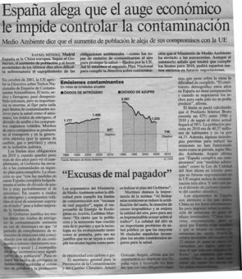 España alega que el auge económico le impide controlar la contaminación. Noticia en El País.