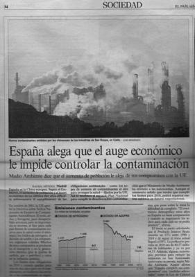 España alega que el auge económico le impide controlar la contaminación II. Noticia en El País.