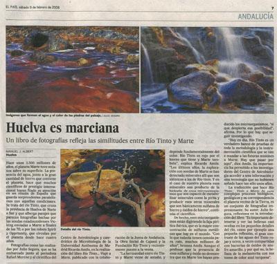 Huelva es marciana. Noticia en El País, 9 de febrero de 2008