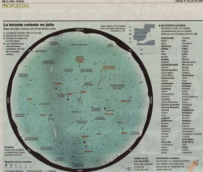 La bóveda celeste en Julio. Noticia en El País.