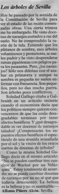 Los árboles de Sevilla. Artículo de opinión en El País, 12 de mayo de 2006