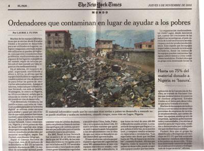 Ordenadores que contaminan en lugar de ayudar a los pobres. Reportaje de El País.