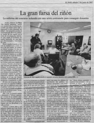 La gran farsa del riñón. Noticia en El País, 2 de junio de 2007