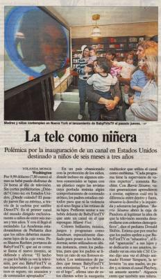La tele como niñera. Reportaje en El país, 13 de mayo de 2005