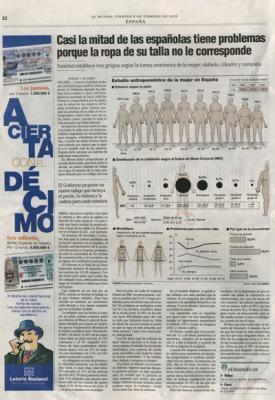 Sanidad propone desterrar el sistema actual de tallas de ropa. Noticia en El País, 7 de febrero de 2007