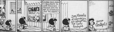 Mafalda: la estrategia comercial de Manolito