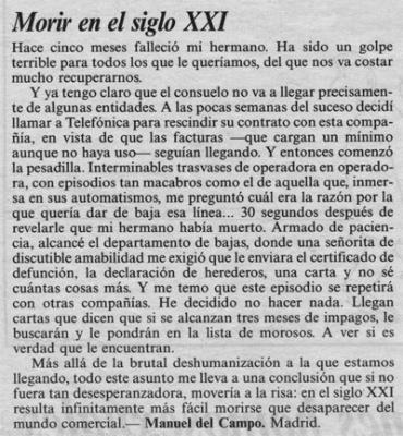 Morir en el s. XXI. Artículo de opinión, publicado en el foro de El País