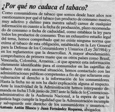 ¿Por qué no caduca el tabaco? Cartas al director en El País, 28 de Julio de 2007