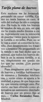 Tarifa plana de huevos. Cartas al director en El País, 2 de Septiembre de 2007