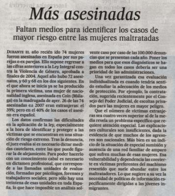 Más asesinadas. Editorial de El País, 5 de enero de 2008