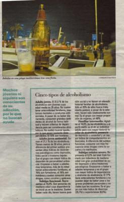 Cinco tipos de alcoholismo. Noticia en El País, 26 de junio de 2007
