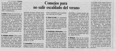 Consejos para no salir escaldado en verano. Noticia en El País, 4 de Agosto de 2007