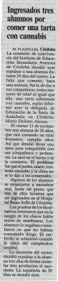Ingresados unos alumnos por comer una tarta con cannabis. Publicado en El País.