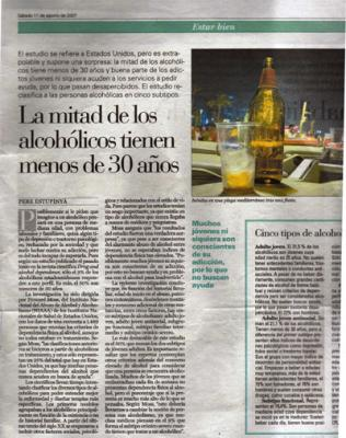 La mitad de los alcohólicos tiene menos de treinta años. Publicado en El País.