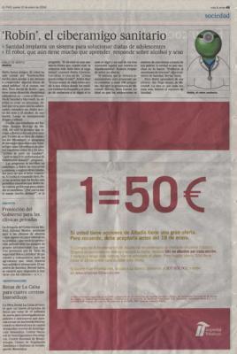 Robin, el ciberamigo sanitario.Noticia en El País, 10 de enero de 2008